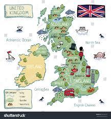 cartoon map of united kingdom england scotland wells north ireland