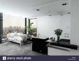 Offene Moderne Schlafzimmer Mit Bad In Einem Studio Mit Einem