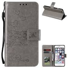 embossing owl couple flower leather wallet case for iphone 6s plus 6 plus 6p