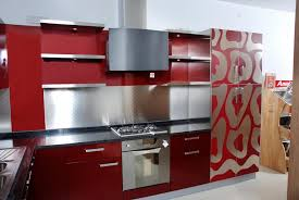 Kitchen Ideas:Awesome Small Red Kitchen Cabinet With Silver Stainless Steel  Backsplashes And Black Kitchen