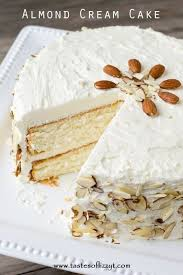 Almond Cream Cake Velvety From Scratch Cake w Whipped Frosting}