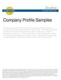 Resume Profile Samples How To Write Profile For Resume Doc100 Company Sample Download 76