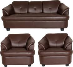 GIOTEAK Solid Wood 3 1 1 Brown Sofa Set Best Price in India