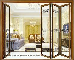large opening area soundproof aluminium double glass folding door