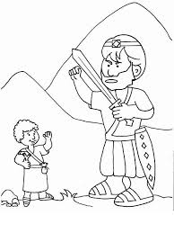 Small Picture A Simple Drawing of David and Goliath Colouring Page Colouring Tube