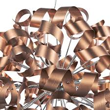 Copper Ribbon Light Rawley Satin Copper Twisted Ribbon 12 Light Pendant