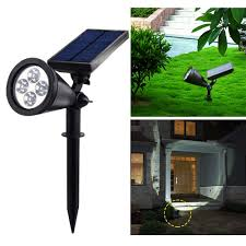 Led Solar Garden Spot Lights Ip44 4leds Solar Spot Light 6000 7000k 200lm Lawn Lamp Super