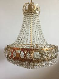 chandelier with glass beads and brass frame