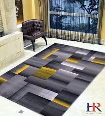 yellow and grey rug silver black abstract area modern contemporary geometric cube pink gray