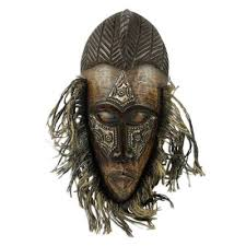 african wood and aluminum mask frafra r original african tribal mask