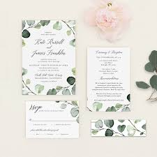 wedding invitation layout eucalyptus pdf template