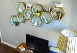 diy honeycomb shelves living room decor 3