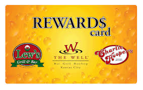 get the reward card you re here all the time anyway why not be rewarded members receive points for drinking and dining at the well lew s and charlie