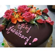 Send Anniversary Cake With Floral Design On Top Online Free