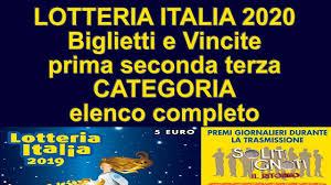 LOTTERIA ITALIA 2020   Ecco i Biglietti Vincenti Prima, Seconda, Terza  Categoria