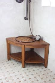 image quarter bamboo bathroom stool aqua teak the original quot kai corner teak shower bench with shelf