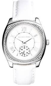michael kors white leather bryn watch image 0