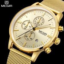online get cheap gold watches men aliexpress com alibaba group megir chronograph mens quartz watch stainless steel mesh band gold watches slim men watches multi