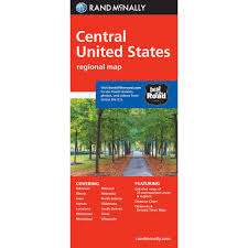 Distance Between States Chart Folded Map Central United States