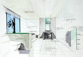 bathroom interior design sketches. Interior Sketch By Pencil And Pen Color Free Hand Of Bath Room Design Stock Photo Bathroom Sketches D