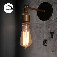 Vintage style lighting fixtures Vanity Lights Stglighting Dimmable Light Wall Sconces Plugin Lighting Vintage Industrial Loft Style Light Fixture Bulb Included Kiven Lighting Online Shopping Kiven Lighting Stglighting Dimmable Light Wall Sconces Plugin Lighting Vintage