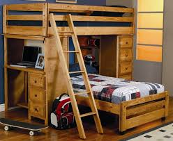 Wooden bunk bed with desk that's a twin over full bed