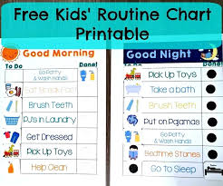 Bedtime Routine For Adults Checklist Printable Toddler Daily Chart