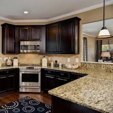 Dark Cabinets Light Granite Magnificent Dark Kitchen Cabinets With