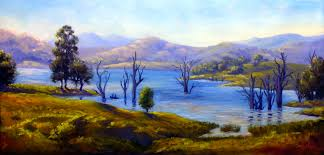 an original oil on belgian linen of lake st clair in the hunter valley nsw
