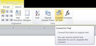 converting a table to text in microsoft word word help