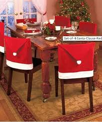 Amazoncom Santa Clause Red Hat Chair Back Covers for Christmas