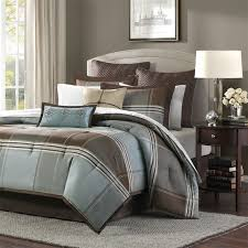 madison park lincoln square 8 piece comforter set queen blue brown for an updated classic color block bedding collection you can t go wrong with lincoln