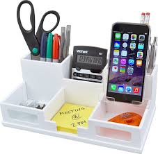 com victor wood desk organizer with smart phone holder pure white w9525 office s