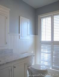 bathroom with wainscoting. Fetching Image Of Bathroom Decoration Using Wall Ikea Cabinet : Inspiring Blue And White With Wainscoting