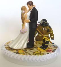Wedding Cake Topper Fireman Firefighter Themed Lh Bride Groom W