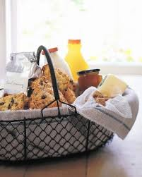 breakfast gift basket line a basket with vine tea towels and fill it with coffee tea milk sugar orange juice scones er and marmalade