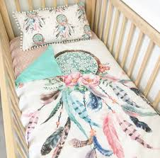 Dream Catcher Baby Bedding Image of Aquapink dream catcher with aqua dots cot quilt The 32