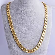 24 men 18k yellow gold plated cuban chain necklace mens jewelry hip hop 10mm