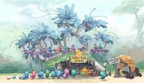 The Angry Birds Movie Concept Art - Worm Shop Design | Concept art, Art  blog, Magical art