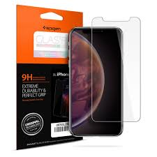 spigen iphone xs max 6 5 premium tempered glass screen protector super hd clarity 9h screen hardness delicate touch perfect grip case friendly with