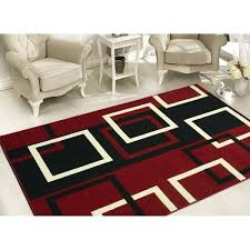 red and beige area rugs sweet home s modern boxes dark red black white geometric area