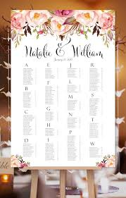 Wedding Seating Chart Poster Romantic Blossoms Watercolor Floral Print Ready Digital File
