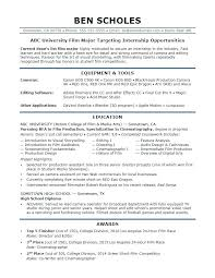 Internship Resume Template Sample Resume For A Film Industry