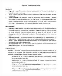 essay outline example    samples in pdf word expository essay outline sample