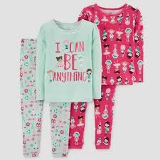 Baby Girls\u0027 4pc I can Be Anything Long Sleeve Cotton Pajama Set - Just One You™ Made by Carter\u0027s® Green Can