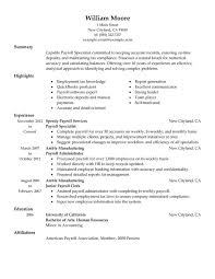 Payroll Resume Template Best of Payroll Resume Template Payroll Specialist Resume Examples Created
