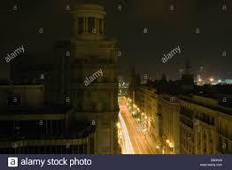 Rei Night Light Car Light Trails On A Street Nr Placa Del Rei Barri Gotic