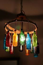 1 colorful glass bottles chandelier beautifying a room