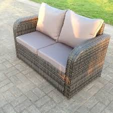 2 seater curved arm rattan sofa patio