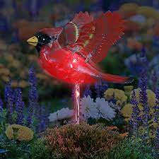 bird inspired garden art decor w solar